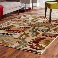 Indoor Ivory Floral Area Rug - 5' x 7'3