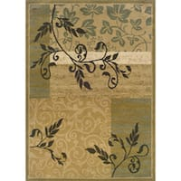 """Indoor Beige Floral Area Rug (3'2 x 5'5) - 3'2"""" x 5'5"""""""