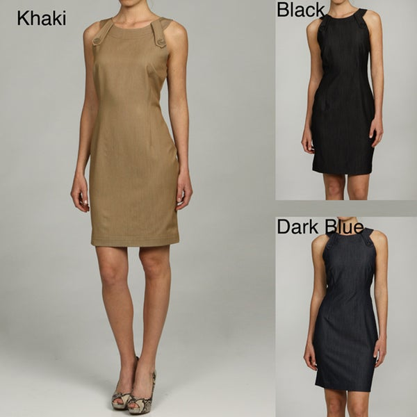 Calvin Klein Women's Button Tab Shoulder Detail Dress