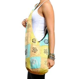 Cotton Summer Patch Handmade Button-closure Shoulder Bag (Nepal)
