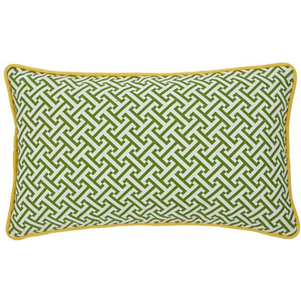 Handmade Maze Green and Yellow Decorative Pillow. Opens flyout.