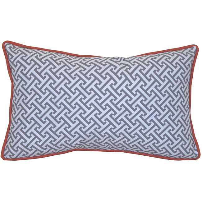 12 x 20-inch Maze Grey and Orange Decorative Pillow - Thumbnail 0