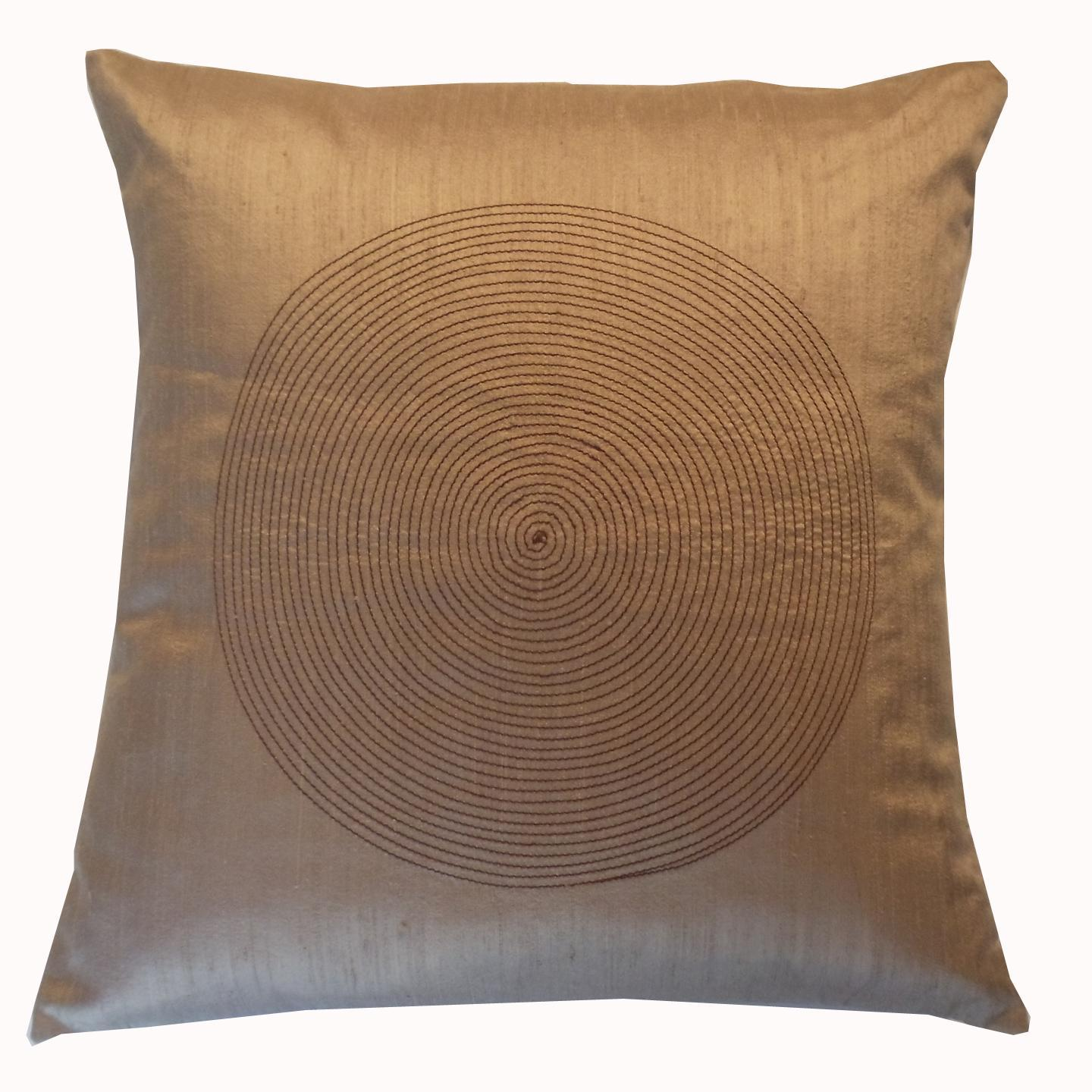 Gold Embroidered Silk Decorative Pillow - Thumbnail 0