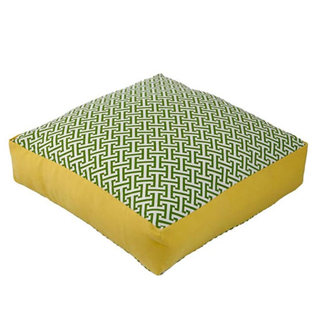 Outdoor Green and Yellow Box Maze Decorative Pillow