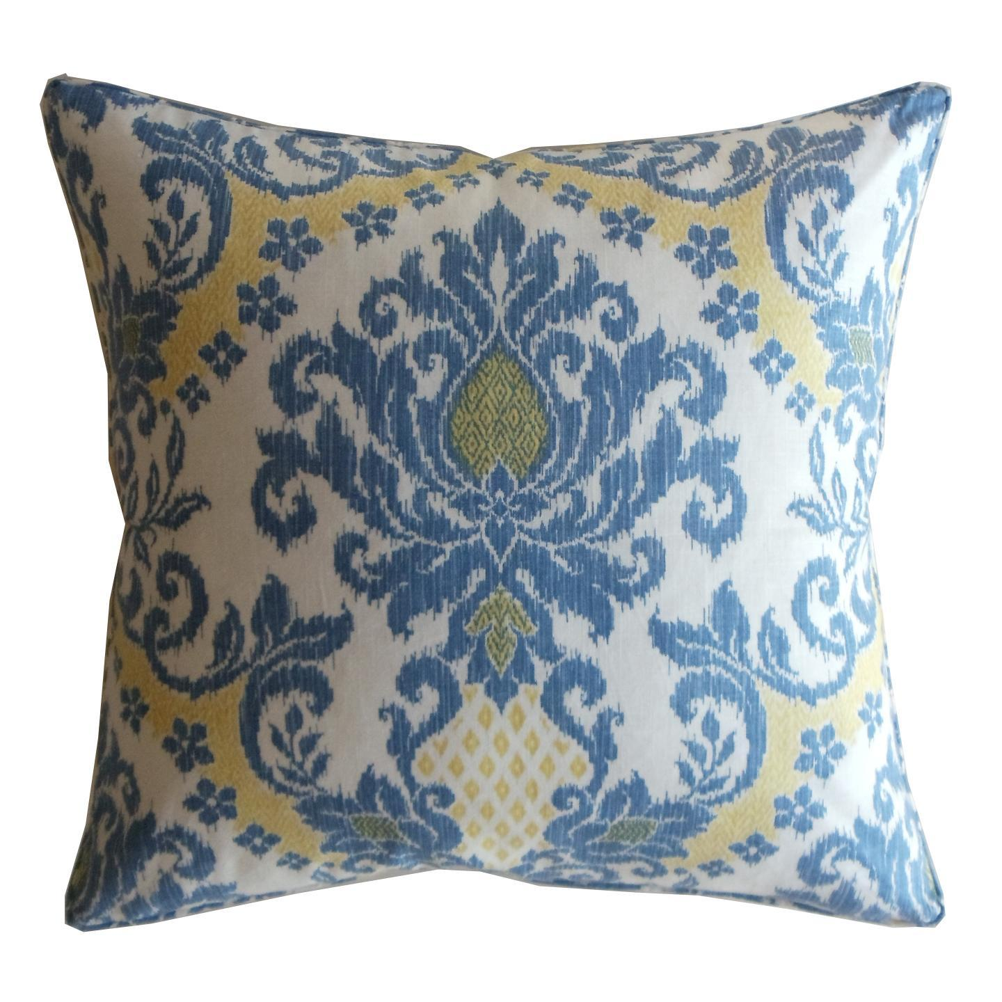 Blue Linen Ikat Decorative Pillow