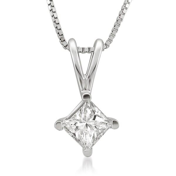 Montebello 14k White Gold 1/3ct TDW Princess Diamond Solitaire Necklace (J-K, I2)