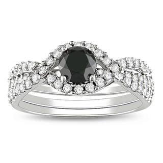 Miadora 14k Gold 1 1/3ct TDW Black and White Diamond Bridal Ring Set (G-H, I2)