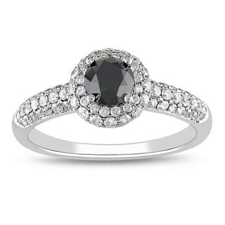 Miadora 14k Gold 1 1/3ct TDW Black and White Diamond Ring