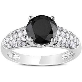 Miadora 14k Gold 2 1/10ct TDW Black and White Diamond Ring