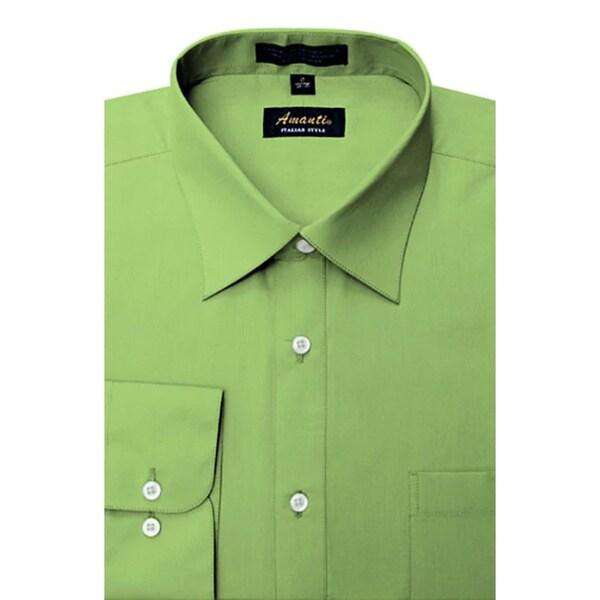 Men's Wrinkle-free Apple Green Dress Shirt. Opens flyout.