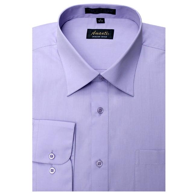 Men's Lavender Wrinkle-free Dress Shirt