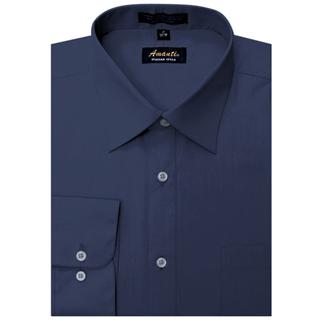 Men&39s Wrinkle-free Navy Dress Shirt - Free Shipping On Orders Over ...