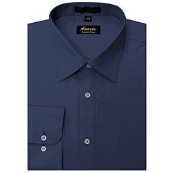 Men's Wrinkle-free Navy Dress Shirt (Option: 22)