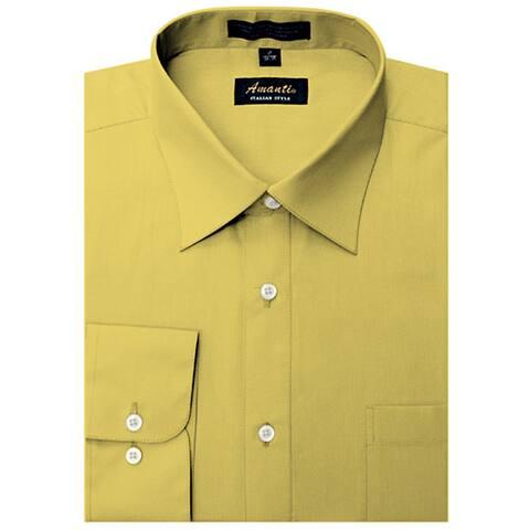 Men's Wrinkle-free Mustard Dress Shirt