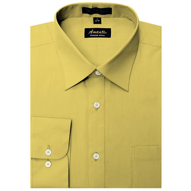 Yellow collar white dress shirt