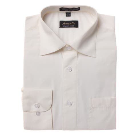 Men's Off-white Cotton and Polyester Wrinkle-free Long-sleeve Dress Shirt