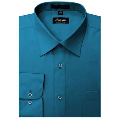 Men's Wrinkle-free Ocean Blue Dress Shirt