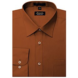 Men's Wrinkle-free Rust Dress Shirt