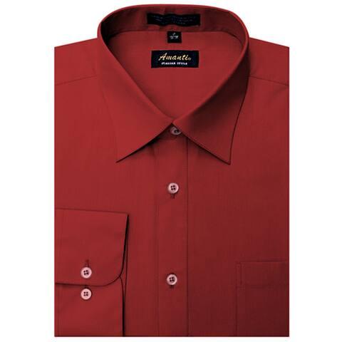Men's Wrinkle-free Apple Red Polyester Dress Shirt
