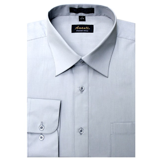 Men 39 s wrinkle free silver dress shirt free shipping on for Wrinkle free dress shirts amazon