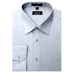 Mens Wrinkle-free Silver Dress Shirt