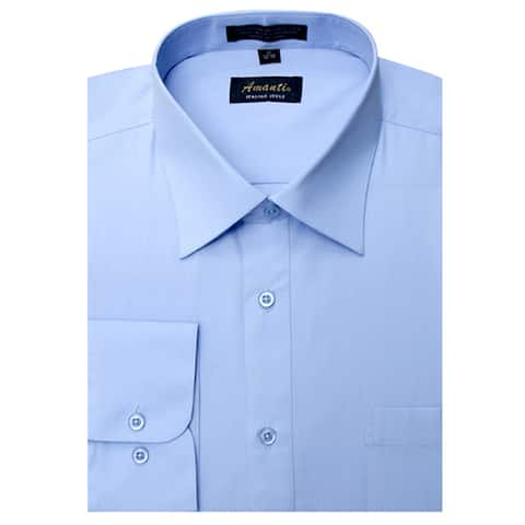 Men's Baby Blue Cotton and Polyester Wrinkle-free Long-sleeve Dress Shirt
