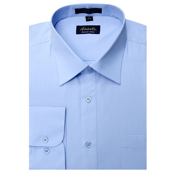 5c1d4680500 Shop Men s Baby Blue Cotton and Polyester Wrinkle-free Long-sleeve Dress  Shirt - Free Shipping On Orders Over  45 - Overstock - 5808951