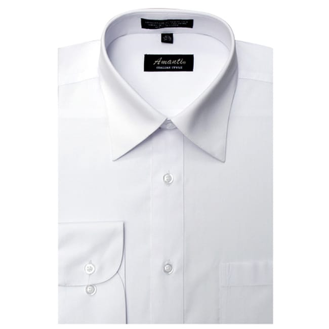 Men's Wrinkle-free White Dress Shirt - Thumbnail 0
