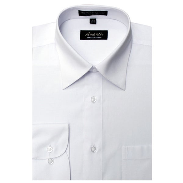 Mens Wrinkle-free White Cotton/Polyester Dress Shirt