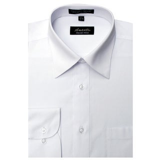 Men's Wrinkle-free White Cotton/Polyester Dress Shirt