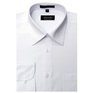Men's Wrinkle-free White Cotton/Polyester Dress Shirt