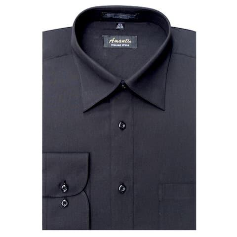 Men's Black Wrinkle-free Dress Shirt