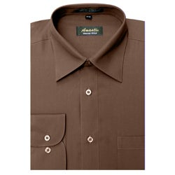 Men's Wrinkle-free Brown Cotton/Polyester Dress Shirt