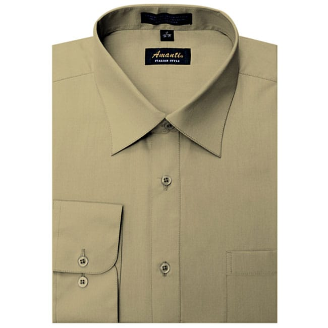 Men's Wrinkle-free Tan Dress Shirt
