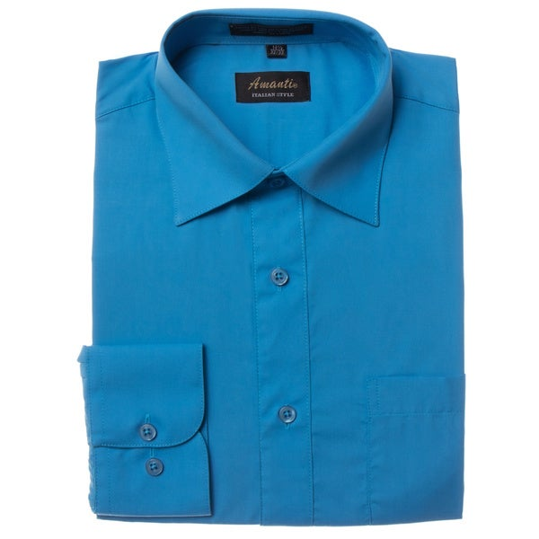 Men's Wrinkle-free Turquoise Dress Shirt