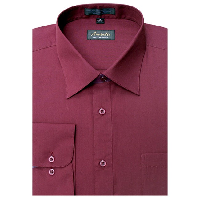 Men's Wrinkle -free Burgundy Dress Shirt