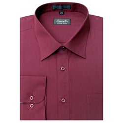 Men's Wrinkle -free Burgundy Dress Shirt - Free Shipping On Orders ...