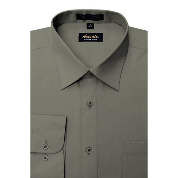 Mens Wrinkle-free Charcoal Dress Shirt