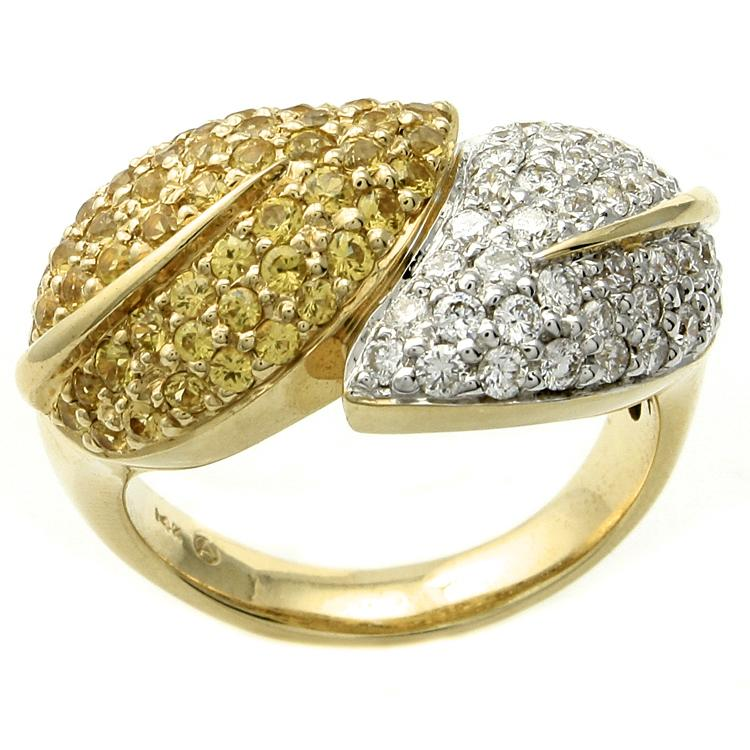 Beverly Hills Charm 14k Gold Sapphire and 3/4ct TDW Diamond Double Leaf Ring