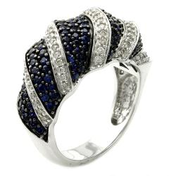 Beverly Hills Charm 14k White Gold Blue Sapphire and 1/3ct TDW Diamond Domed Ring