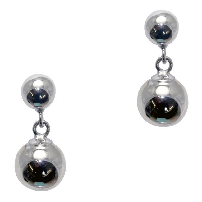 Gioelli Sterling Silver Double Ball Drop Earrings
