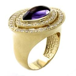 Beverly Hills Charm 14k Yellow Gold Amethyst and 3/4ct TDW Diamond Ring