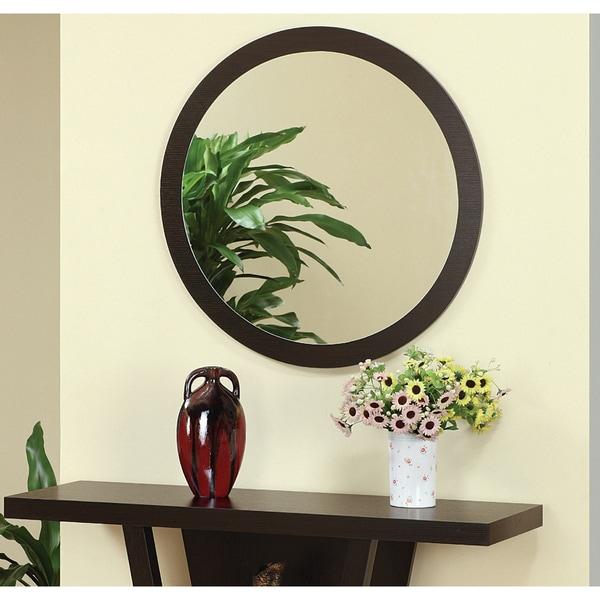 Furniture of America Audrey Coffee Bean Round Mirror