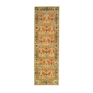 Herat Oriental Indo Hand-tufted Gold/ Olive Wool Rug (2'6 x 8')