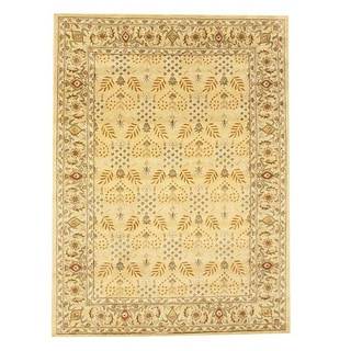 Herat Oriental Indo Hand-tufted Gold/ Ivory Wool Rug (8' x 11')