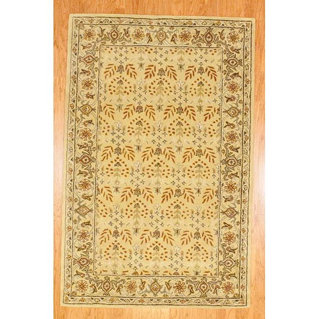 Indo Hand-tufted Gold Wool Rug (5' x 8')