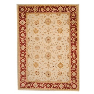 Herat Oriental Afghan Hand-knotted Oushak Ivory/ Red Wool Rug (10'2 x 13'9)