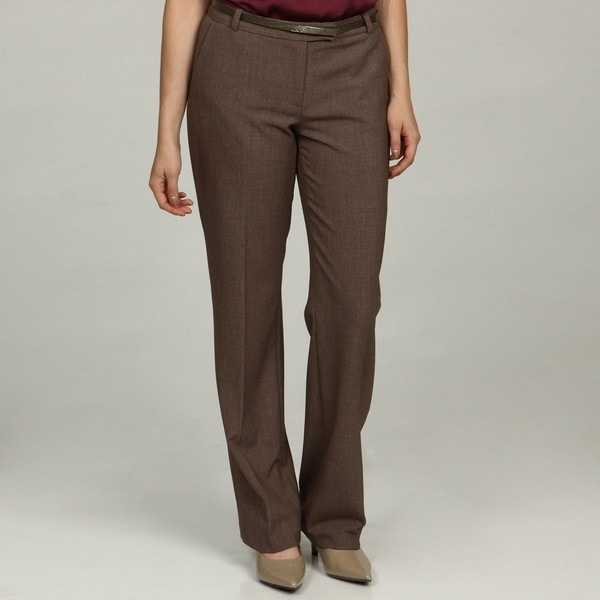 Calvin Klein Women's 'Madison' Brown/Ecru Flat-front Dress Pants ...