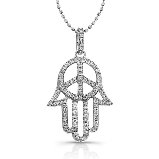 Sterling Silver Diamond Hamsa Peace Sign Necklace