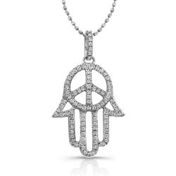 Sterling Silver Diamond Hamsa Peace Sign Necklace